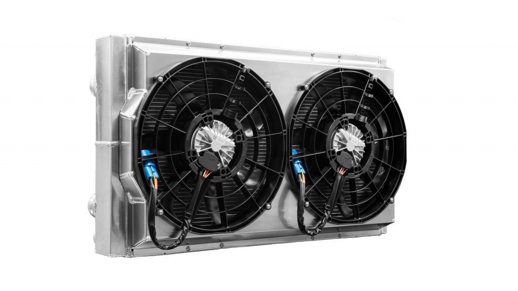 The PWR Drift Radiator includes a fully enclosed shroud and two high capacity fans.